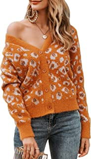 Sollinarry Women's V Neck Button Down Long Sleeve Leopard Knit Cardigan Sweater