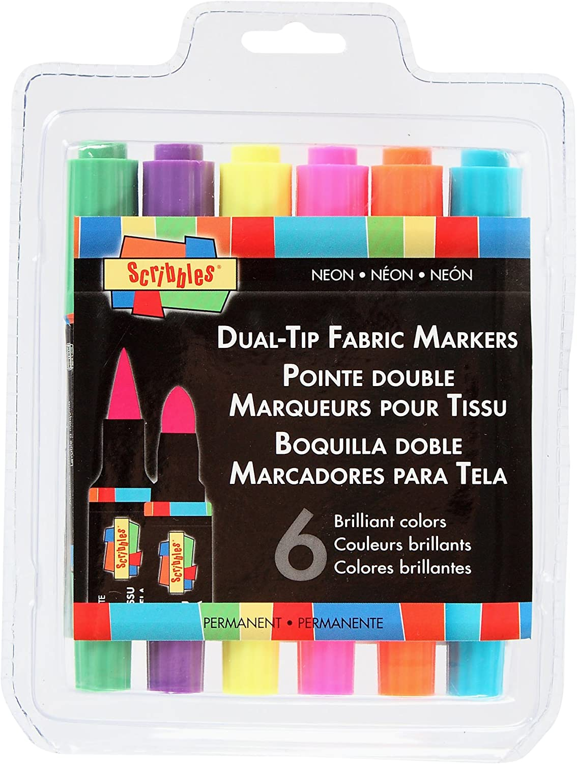Scribbles DualTip Permanent Fabric Markers, 6Pack, Neon