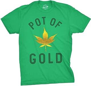 Mens Pot of Gold Tshirt Glitter Marijuana Leaf Tee for Guys