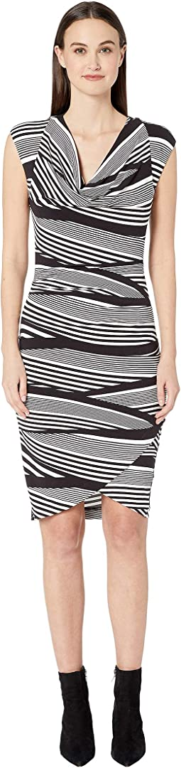 Wavy Stripe Cowl Neck Asymmetrical Dress