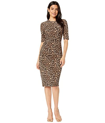 Vince Camuto Printed ITY Bodycon Dress with Side Seam Ruching (Cheetah) Women