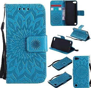 Cfrau Kickstand Wallet Case with Black Stylus for iPod Touch 5,Retro Mandala Sunflower PU Leather Magnetic Flip Folio Stan...