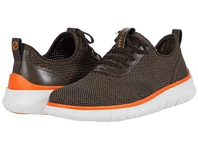 Cole Haan Generation Zerogrand Stitchlite (Black Olive Knit/Vibrant Orange/Optic White) Men