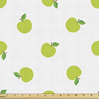 Lunarable Green Fabric by The Yard, Apple Pattern Fruit Themed Nutritious Food Summer Season Design, Decorative Fabric for...