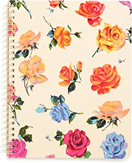 """Ban.do Colorful Floral Rough Draft Mini Spiral Notebook, 9"""" x 7"""" with Pockets and 160 Lined Pages, Coming Up Roses"""