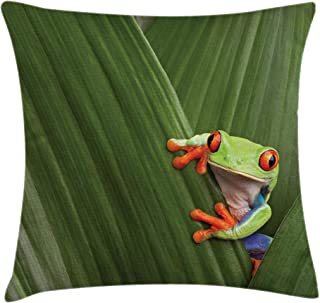 Ambesonne Animal Throw Pillow Cushion Cover, Red Eyed Tree Frog Hiding in Exotic Macro Leaf in Costa Rica Rainforest Tropical Nature, Decorative Square Accent Pillow Case, 20 X 20 Inches, Green