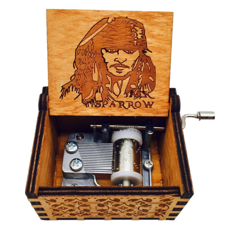 HLZK Piratas de la caja de música del Caribe, antiguo tallado de ...