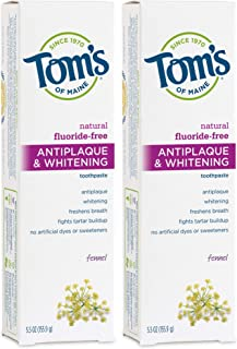 Tom's of Maine Fluoride-Free Antiplaque & Whitening Toothpaste, Natural Toothpaste, (683398) Fennel, 5.5 Ounce, (Pack of 2...
