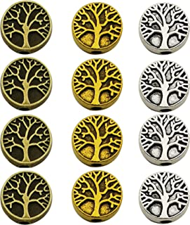 75pcs Antique Silver Bronze Gold Mixed Tree of Life Loose Spacer Bead,Craft Supplies Charms Pendants for Jewelry Findings Making Accessory for DIY Bracelet Necklace M229