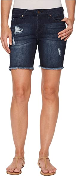 Liverpool - Corine Shorts Fray Hem w/ Slit in Vintage Super Comfort Stretch Denim in Vallejo Dark Dest