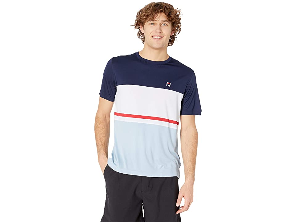 Fila Heritage Tennis Color Block Crew (Navy/White/Angel Falls) Men's Clothing, Multi
