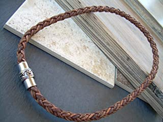 Handmade Mens Thick Braided Leather Necklace with Filigreed Stainless Steel Magnetic Clasp,Mens Necklace,Mens Jewelry, Groomsmen