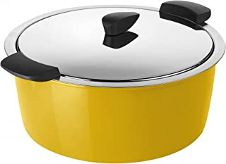 Kuhn Rikon Hotpan Serving Casserole, Stainless Steel, Stainless Steel, Yellow, 4.5L, 26cm