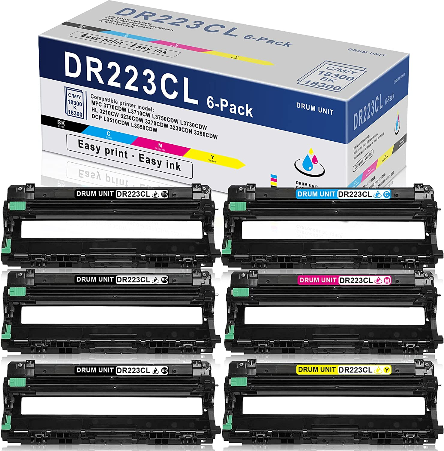 6PK (3BK+1C+1M+1Y) High Yield Drum Unit DR223CL DR-223CL Compatible Replacement for Brother MFC 3770CDW L3710CW L3750CDW L3730CDW HL 3230CDW 3270CDW 3230CDN 3290CDW DCP L3510CDW L3550CDW Printer