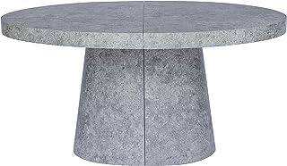 Menzzo Oluze Table Extensible, Bois, Béton Gris, L150 x P100 x H76 cm avec rallonge : L300cm