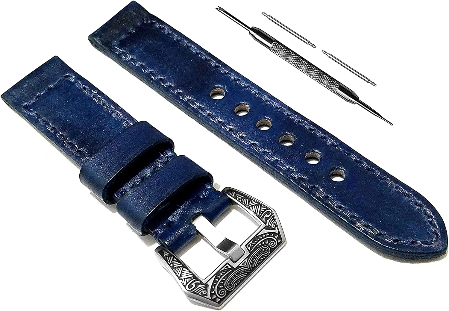 NICKSTON Blue Dealing full price reduction Brushed Genuine Leather with Regular dealer Huaw Compatible Strap