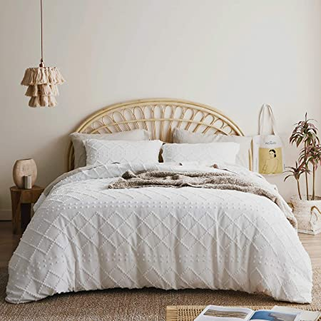 Bedsure Duvet Cover Queen Size - Queen Duvet Cover Set, Boho Bedding Queen for All Seasons, 3 Pieces Embroidery Shabby Chic Home Bedding Duvet Covers (White, Queen, 90x90'')