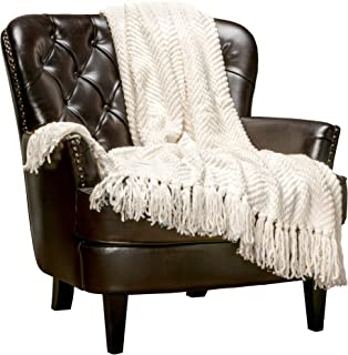 Chanasya Textured Knitted Super Soft Throw Blanket with Tassels Warm Cozy Plush Lightweight Fluffy Woven Blanket for Bed Sofa Chair Couch Cover Living Bed Room Off White Throw Blanket (50x65)- Cream