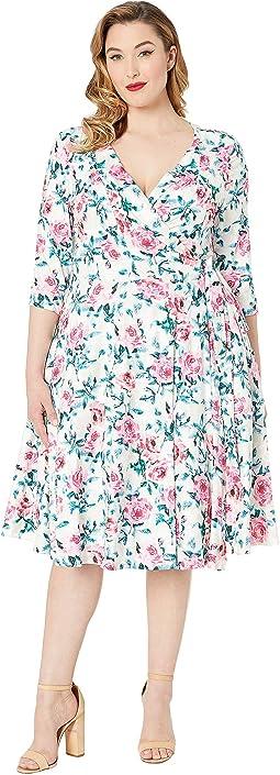 Plus Size 1940s Style Print Kelsie Wrap Dress