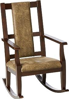 ACME Butsea Rocking Chair - - Brown Fabric & Espresso