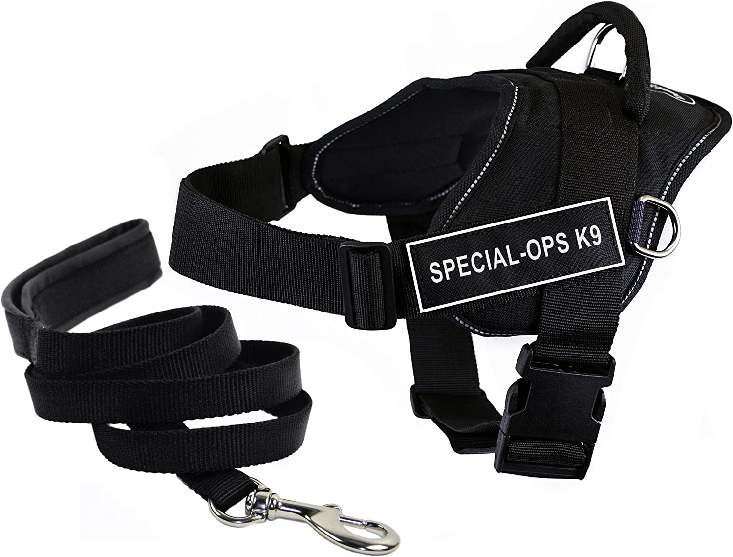 Dean & Tyler's DT Fun SPECIALOPS K9 Harness with Reflective Trim, Small, And 6 ft Padded Puppy Leash.