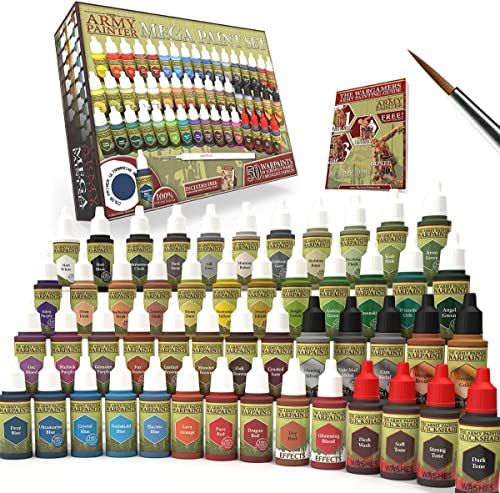 The Army Painter Miniature Painting Kit with Bonus Wargamer Regiment Miniature Paint Brush - Acrylic Model Paint Set ...