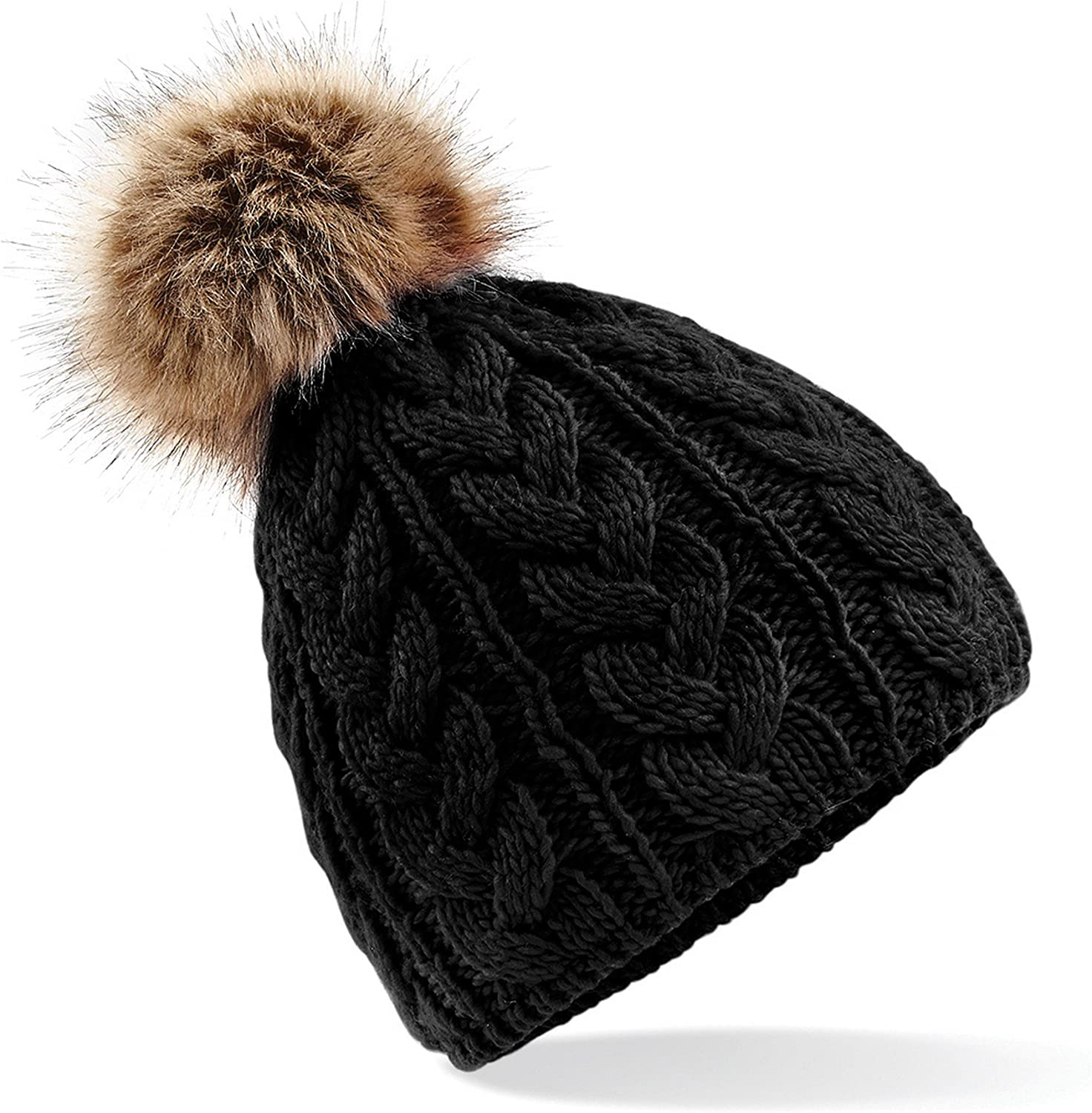 Beechfield Unisex Pom Cable Manufacturer OFFicial Complete Free Shipping shop Beanie