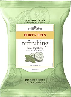 Burt's Bees Facial Cleansing Towelette Wipes for Normal to Dry Skin with Cucumber and Sage, 30 Count (Package May Vary)