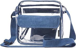 Clear Stadium Bag with Denim Trim | NFL NCAA PGA NASCAR Approved 10 x 10 x 5 Crossbody Messenger with Adjustable Shoulder Strap | Dakbee Original with Zippered Pockets| Bonus Denim Privacy Clutch