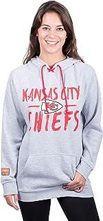 سويت شيرت بلوفر حريمي من الصوف بقلنسوة يحمل شعار NFL Kansas City Chiefs من Icer Brands برباط عنق، مقاس كبير، رمادي