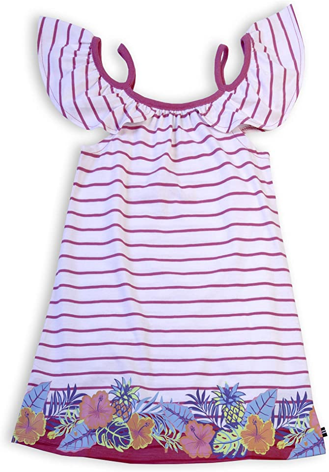 Nautica Girls' Cold Shoulder Striped Fashion Dress