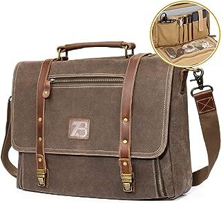 Manificent Men's Messenger bag, Vintage Genuine Leather Briefcase shoulder bag 15.6 Inch Waxed Canvas Leather Computer Laptop Bag Waterproof Business Satchel Bag Work Bags for mens (Brown)
