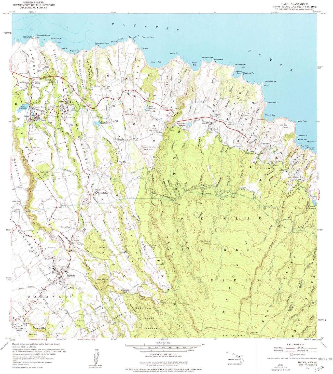 YellowMaps Haiku HI topo 卓越 map ランキング総合1位 1:24000 Scale X Minute 7.5 H