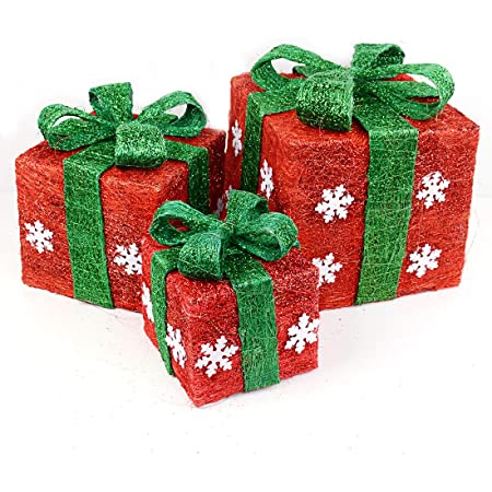 MZGB-ASST-3L-1 National Tree Set of 3 Assorted Green Sisal Gift Boxes with Clear Lights