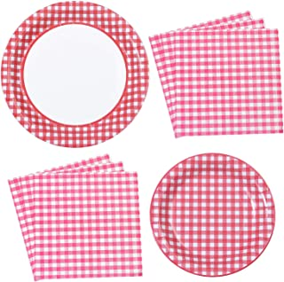 Aneco 98 Pieces Red and White Plaid Party Supplies Party Tableware Paper Plates and Napkins for 24 Guests