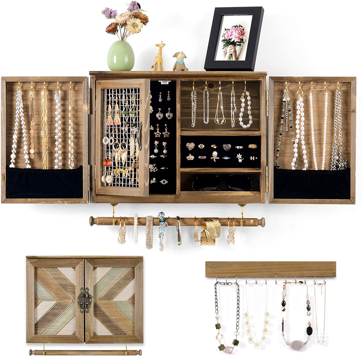 Ikkle Wooden Jewelry Organizer Wall Mounted Rustic Jewelry Holder with Wooden Barn Door for Necklaces Earrings Bracelets Ring, and Removable Bracelet Rod with Hooks Organizer for Hanging Jewelry