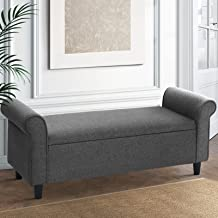 Artiss Storage Ottoman Blanket Box 126cm Linen Fabric Arm Foot Stool Couch Large