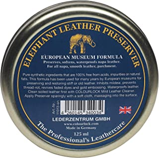 COLOURLOCK Elephant Leather Preserve wax to restore, care, nourish and waterproof leather car interior, handbags, chesterfield sofas, etc (125 ml)