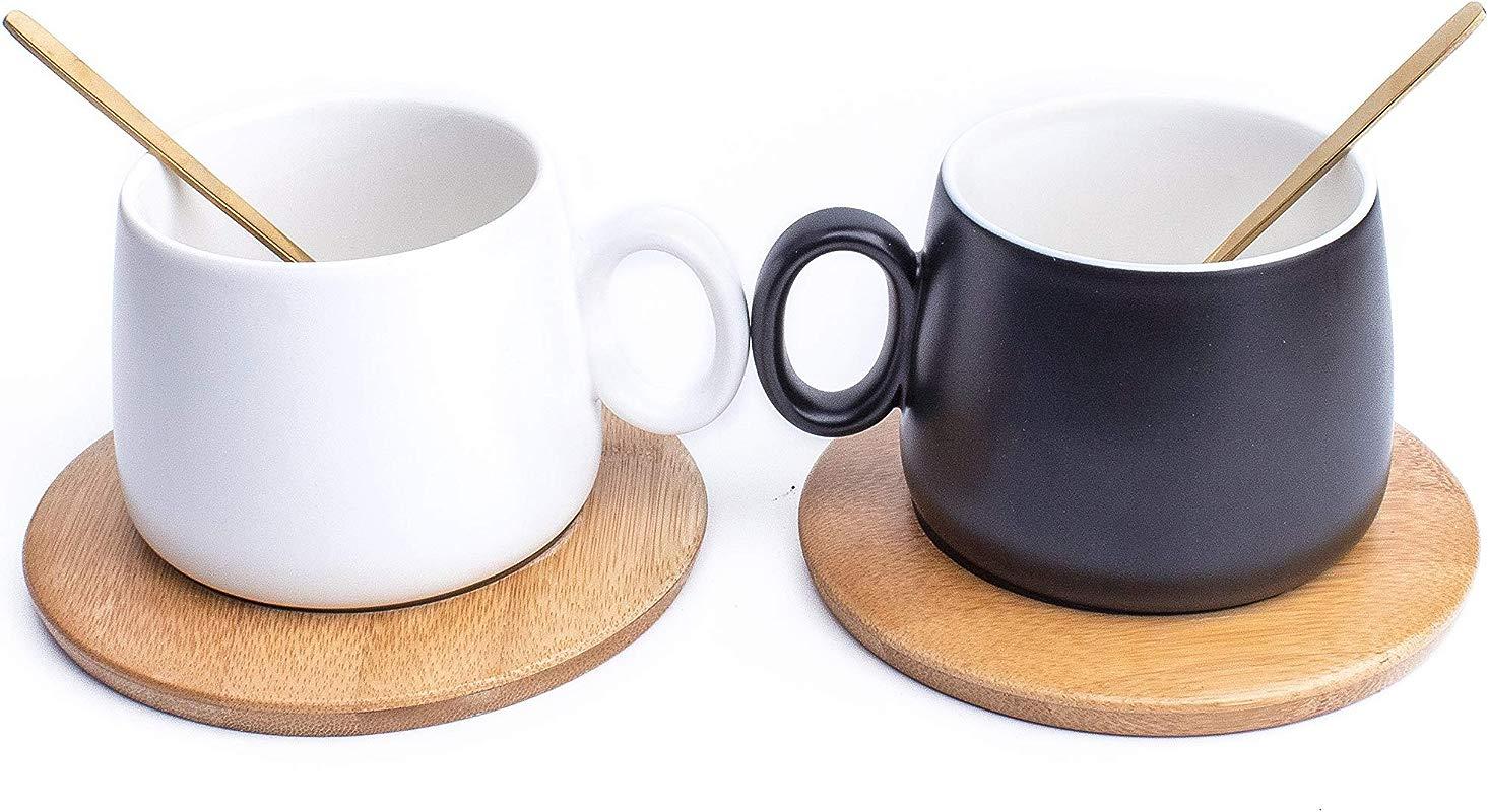 Black White Mug Set With Coaster 1 Black 1 White Mug Set With Coaster