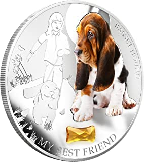 2013 Fiji - Dogs & Cats - Release 1 - My Best Friend - Basset Hound - 1oz - Silver Coin - $2 Uncirculated