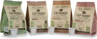 Cap'Mundo Paris Organic and Compostable Espresso Capsules Variety Pack, 40 Single Cup Coffee Pods Compatible with Nespresso Original Machines