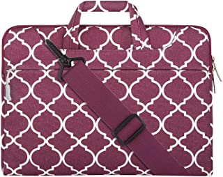 MOSISO Quatrefoil Style Canvas Fabric Laptop Sleeve Case Cover Bag with Shoulder Strap Red Wine Red 14-15 Inch