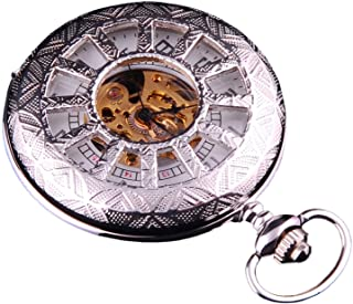 Skeleton Pocket Watch Steampunk Mechanical Movement Hand Wind Silver Tone Half Hunter White Dial PW-66