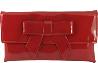 New Women Ladies Red Small Branded Designer Holder Grab Bag Soft Faux Leather