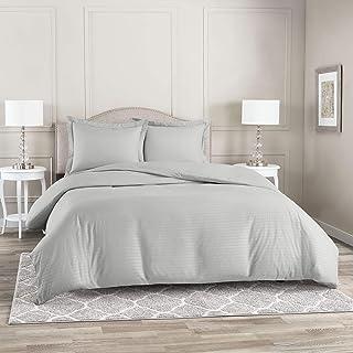 Nestl Duvet Cover 3 Piece Set – Ultra Soft Double Brushed Microfiber Bedding – Damask Dobby Stripe Comforter Cover and 2 P...