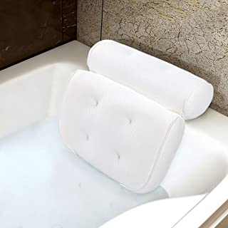 SPA Luxury Bathtub Pillow Big 3D Mesh Bath Pillow with 6 Suction Cups & Hang Hook Good Head Neck Back Support Quick Dry, Gift Wrap