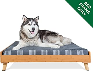 Furhaven Pet Dog Bed Frame   Mid-Century Modern Style Bed Frame Furniture for Pet Beds & Mattresses, Bamboo, Jumbo