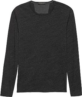 Banana Republic Mens Moisture Wicking Long Sleeve T Shirt, Black