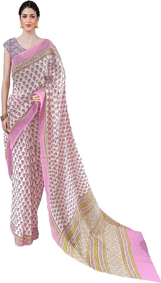 Indian Nikhilam Women's jaipuri hand block Printed Cotton Mulmul Saree/cotton malmal saree/cotton saree with Blouse piece - pink ... Saree