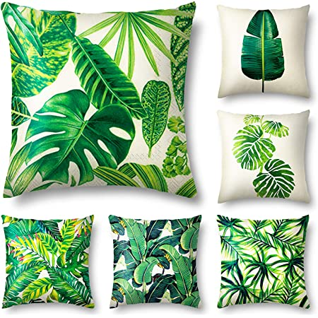 Amazon Com Quxiang Set Of 6 Tropical Leaves Throw Pillow Cover Decorative Cotton Linen Burlap Square Outdoor Cushion Cover Pillow Case 18 X 18 Inches Home Kitchen
